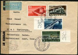 9.8.1947 FDC 100 Jahre Schweizer Eisenbahnen an Auslanddestination Karlsruhe, Deutschland selten!