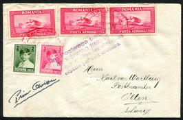 RUMÄNIEN 21.6.1929 FLP Brief von Bukarest nach Olten, Schweiz, Flug ausgefallen SSt. in violet