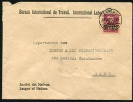1924 BIT Bureau International du travail Brief von Genf nach Chur mit offiz. Umschlag