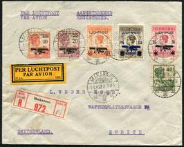 Ned. Indien   11.10.1928 früher FLP Brief, eingeschrieben von Makasser nach Zürich