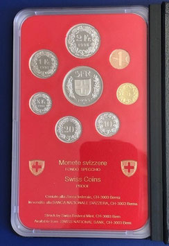 1995 Münzsatz Schweiz in PP (polierte Platte) Hartplastikverpackung und Etui