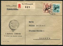 1948 Brief eingeschrieben vom I. Schweiz. Zollkreis nach Luzern   Verwaltungsmarken