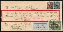 China 27.7.1930 Von Hangkow-Shanghai mit Flug Shanghai-Lakehurst mit Schiff