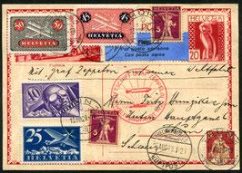 15.8./4.9.1929 WELTRUNDFAHRT Zeppelin Fr'hafen - Fr'hafen portogerecht nach Thun