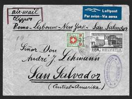 13.7.1940 toller FLP von Zürich nach San Salvador, Zentralamerika