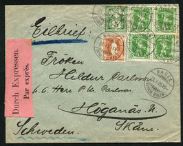 23.1.1908 Basel Express Mischfrankatur nach Högenas, Schweden