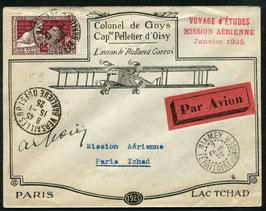 Frankreich Mission aérienne 15.1.1925 Paris - Niamey, Tschad mit Unterschrift des Piloten