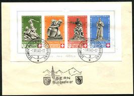 1.8.1940 Bundesfeier Block auf PTT Faltbögli mit Stempel Berne Bundesfeier
