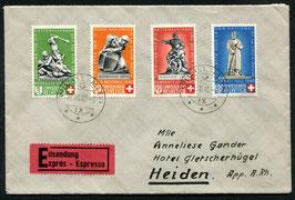 1940 Bundesfeier FDC Wil St.Gallen 20.3.1940 auf Express-Brief nach Heiden