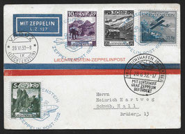 """1932 Zeppelin Post Vaduz - Friedrichshafen, 250. Fahrt des LZ 127 """"Graf Zeppelin"""""""