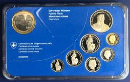 2008 Münzsatz Schweiz in PP (polierte Platte) Hartplastikverpackung, 10 Fr. Sondermünze Steinadler Nationalpark