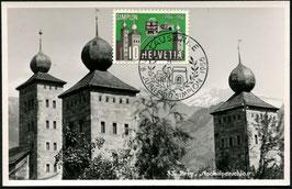 1956 Maximumkarte Jübiläum des Simplons mit Stockalperpalast in Brig