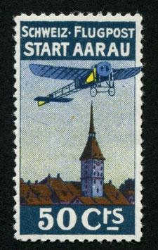 1913 Flugvorläufer Aarau Nr. I Farbfrisch mit vollem Originalgummi TOP-Stück