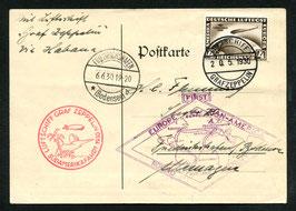 18.5./6.6.1930 Südamerikafahrt 1930 Etappe Friedrichshafen - Freidrichshafen mit Bordpoststempel entwertet