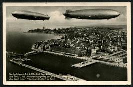 Graf Zeppelin L.Z. 127 und LZ. 129 Hindenburg über Friedrichshafen