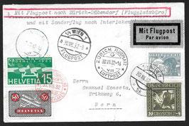 SF 37.7 gA. 3. Int. Flugmeeting Zürich, Flug ZH - Interlaken mit Lockheed Orion ab Wien, Oesterreich