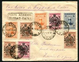IRAN/PERSIEN 1929 Früher Beleg ab Teheran mir der Imperial Airways-Linie nach Kairo und weiter nach Zürich