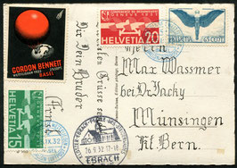 SF32.10 Gordon Bennet Wettfliegen Basel 1932 Karte mit offiz. Vignette auf Ballonkarte
