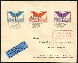 11.10.1926 FLP Brief von Zürich mit Ikarusfrankatur nach München, Deutschland