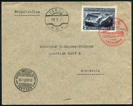 10.6.1931 Zeppelin Fahrt von Vaduz nach Lausanne Brief mit Zeppelinmarke zu Fr. 2.00