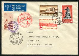 9. Mai 1940 Nationalspende und Rotes Kreuz Frauenfeld via FP22 nach Beinwil mit VL Pro Juventute