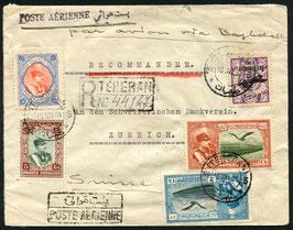 IRAN 16.12.1931 FLP brief eingeschrieben von Teheran nach Zürich via Baghdad