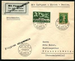 Vermerkstempel Nr. 10 schwarz auf Drucksache FLP Brief Zürich nach Braunschweig 1928