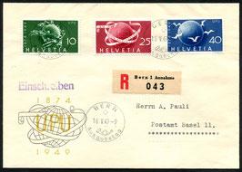 1949 Alle 3 FDC dt./ fr./ it. 75 Jahre Weltpostverein 16.5.1949