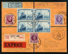 Belgien 1.5.1930 Nachtflug Liege - London, eingeschrieben und Express