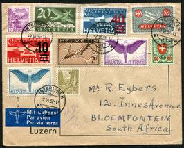 2.6.1937   FLP Brief von Interlaken nach Bloemfontein, Südafrika mit interessanter Mischfrankatur