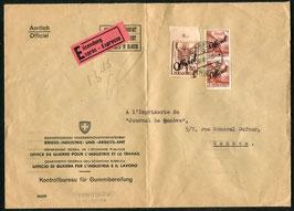 1949 Express des EVD nach Genf mit Verwaltungsmarken