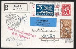 RF 26.4k Basel - Düsseldorf auf eingeschriebener Postkarte mit Attest