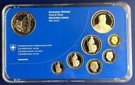 2011 Münzsatz Schweiz in PP (polierte Platte) Hartplastikverpackung, 10 Fr. Sondermünze Zibelemärit Bern