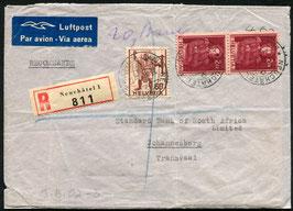 Historische Bilder 23.3.1946 Neuchâtel eingeschrieben via London - Johannesburg, Südafrika