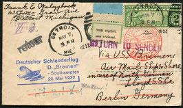 7.5.1933 Schleuderflug von Detroit, USA als Vorausflug bis Southampton mit Dampfer Europa nach Berlin und nicht abgeholt