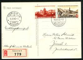 1943 Bundesfeier FDC Zürich 15.6.1943 auf R-Karte (Pro Infirmis) nach Zürich