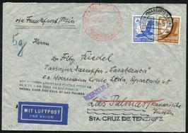 """Deutschland   15.3.1938 FLP Brief von Berlin an einen Passagier des Dampfers """"CASABLANCA"""" vor Las Palmas"""