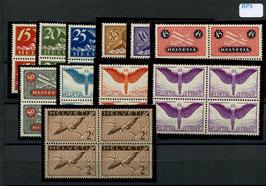 1923 - 1940  Flugpost F3 bis F13 glattes Papier, postfrisch im VBL