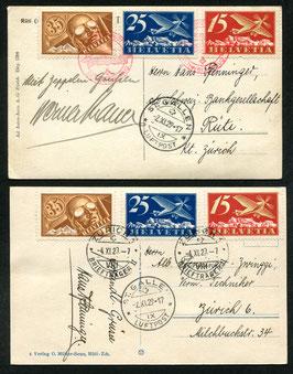 2.11.1929 Zeppelin Schweizerflug Dübendorf-St.Gallen - untere Karte nicht mit SSt. gestempelt!