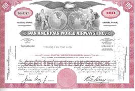 1968 Schönes Zertifikat der PANAM Fluggesellschaft über 100 Aktien