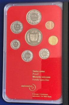 1998 Münzsatz Schweiz in PP (polierte Platte) Hartplastikverpackung und Etui