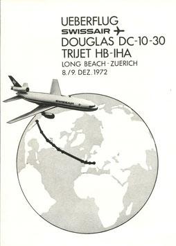 Bordpost-Brief +Gedenkblatt  8./9.12.1972 Ueberflug Douglas DC-10-30 Long Beach - Kloten