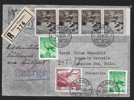 28.3.1935 Toller FLP Brief von Schaan, Liechternstein nach Estacion Nos, Chile, eingeschrieben