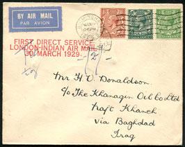 "England 30.3.1929 Erstflug London - Indien SSt. rot ""First direct Service London - Indian Airmail"""