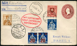 4./5.8.1930 Zeppelin Darmstadt Fahrt mit Landung in Darmstadt