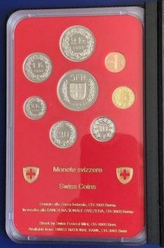 1993 Münzsatz Schweiz in PP (polierte Platte) Hartplastikverpackung und Etui  rar!!!