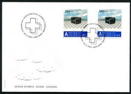 30.12.2003 FDC mit Marke aus Bogen und Marke aus Markenheftchen auf gleichem Brief selten