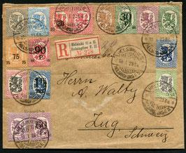 Finnland 13.1.1923 von Helsinki nach Zug, eingeschrieben