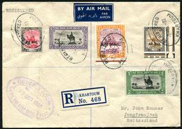 Sudan   7.10.1938 FLP Brief eingeschrieben von Kartoum aufs's JUNGFRAUJOCH, Schweiz