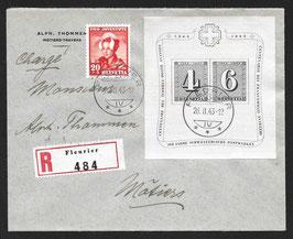 26.2.1943 FDC Block W14 (100 Jahre Schweiz. Briefmarken) auf eingeschriebenem Brief von Fleurier nach Motiers